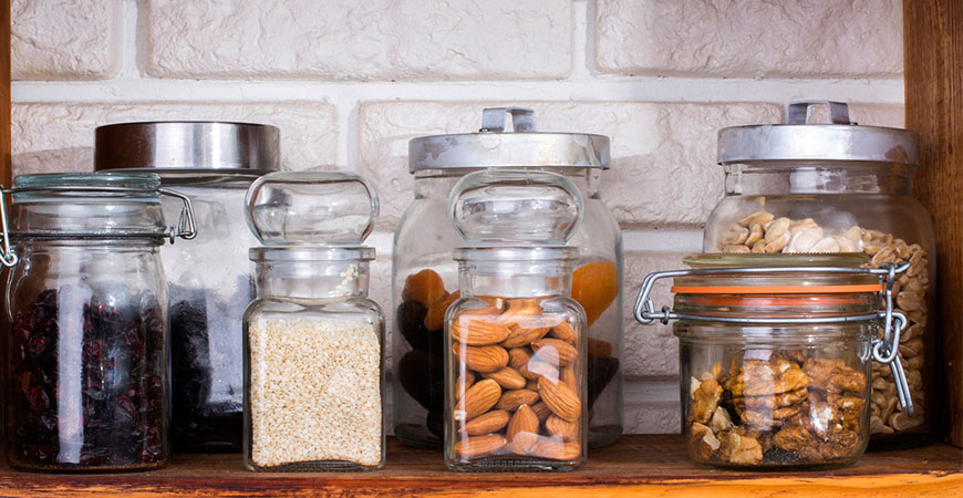 Jars with dried fruits and nuts